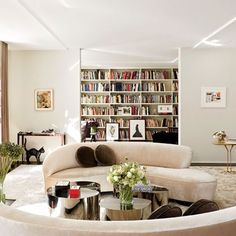 Living Room: Architectural Digest...love the library off the Living Rm