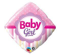 """Balon foliowy 18"""" w kształcie rombu w kolorze różowym, z dwustronnym nadrukiem Baby Girl. Doskonała dekoracja na przyjęcie Baby Shower, z okazji narodzin dziecka oraz do ciążowych sesji fotograficznych."""