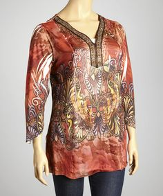 Take a look at this Rust Ornate Curve V-Neck Top - Plus by Sienna Rose on #zulily today! $35 !!