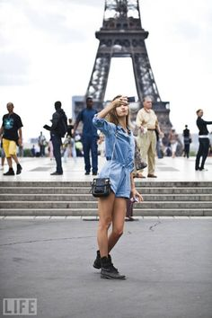 jean romper with combat boots in Paris taking a selfie. God that needs to be me