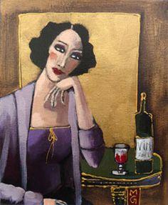 Marie Godest, Tranquille, Gemengde techniek op doek, 27x22 cm, €.225,-