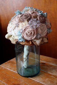 Country Rustic Rhinestone Bouquets Lace Burlap & Rhinestone Elegant Large and Elaborate Bridal Bouquet. $250.00, via Etsy.