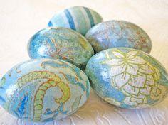 Turquoise Easter Eggs Aqua Easter Eggs by CatnipStudioToo on Etsy, $37.00