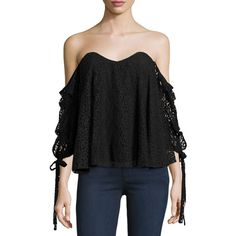 Caroline Constas Gabriella Off-The-Shoulder Lace Bustier Top ($420) ❤ liked on Polyvore featuring tops, black, bustier tops, flutter-sleeve top, lace bustier, lace off the shoulder top and lace bustier top