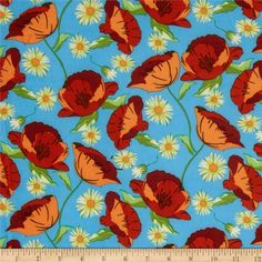 ITY Jersey Knit Floral Blue/Orange from @fabricdotcom  This silky ITY jersey knit is perfect for creating flowy tops, fuller skirts and drapey dresses with a lining. It has a super smooth hand, fluid drape and about 40% stretch across the grain for comfort and ease.