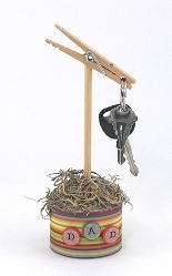 Dad's Day gift:  Clothespin key holder. The clothespin could be painted and a tuna can could be used.  Cute kid's craft.
