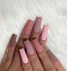Bling Acrylic Nails, Acrylic Nails Coffin Short, Simple Acrylic Nails, Square Acrylic Nails, Best Acrylic Nails, Acrylic Nail Designs, Coffin Nails, Light Pink Acrylic Nails, Dope Nail Designs