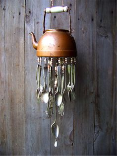 Why not use all of those old, unmatched utensils in your kitchen to create a beautiful-sounding and looking wind chime to hang right outside of it instead? Description from recyclenation.com. I searched for this on bing.com/images