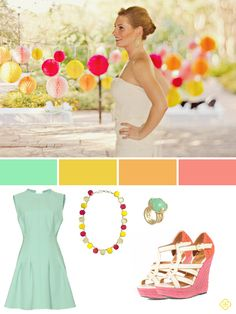 mint, yellow, peach, and coral