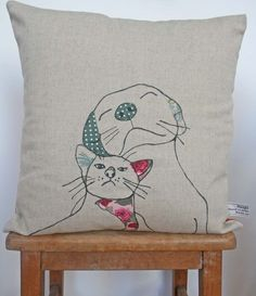Dog and Cat Cushion. $40.00 by florencev4 via Etsy.