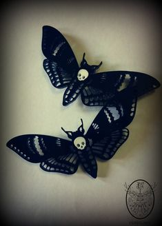 Deaths Head Moth Hair Clips. Single or pair. by CuriologyJewellery