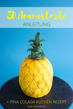 Ananastorte mit Anleitung und Rezept für Pina Colada Kuchen | pineapple cake DIY | www.vertortelt.de
