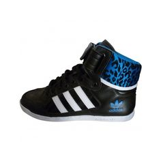 Pre-owned Adidas Trainers ($77) ❤ liked on Polyvore featuring shoes, sneakers, tenis, black trainers, black sneakers, black high top shoes, hi tops and blue shoes