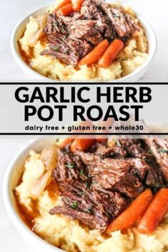Slow Cooker Garlic Herb Pot Roast This easy pot roast cooks in the slow cooker with carrots, onions, and an incredibly delicious garlic herb gravy! The finished meat is fall apart tender. Serve over mashed potatoes (or add the potatoes… Continue Reading → Pot Roast Recipes, Slow Cooker Recipes, Beef Recipes, Cooking Recipes, Recipies, Thai Recipes, Asian Recipes, Mexican Food Recipes, Game Recipes
