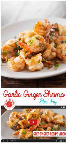 Garlic Ginger Shrimp Stir fry Recipe + Step By Step Recipe Video