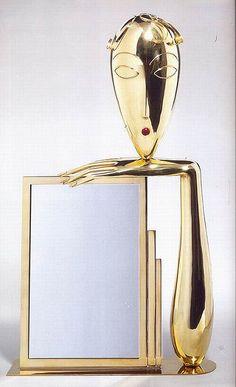 Franz Hagenauer, Mirror, c.1925    Franz Hagenauer, mirror. Brass and mirrored glass, Austrian, c.1925.