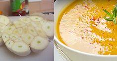 zupa czosnkowa  Przepis: 5 główek czosnku 2 łyżki masła klarowanego 2 łyżki oliwy z oliwek 2 duże czerwone cebule, pokrojone w kostkę 1 łyżka świeżego tymianku, drobno posiekanego 6 szklanek bulionu z kurczaka garstka świeżych/suszonych ziół (pietruszka, tymianek, liść laurowy) 1 szklanka kwaśnej śmietany