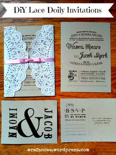 DIY Lace Doily Wedding Invitations, we could change the font and color scheme.