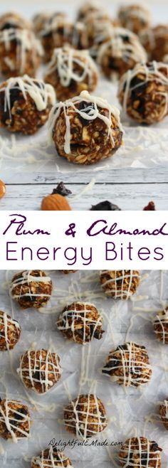 These Plum and Almond Energy Bites are the perfect snack when you're craving something sweet! Made with sweet, delicious dried plums & prunes, almonds, oats, and a drizzle of white chocolate, its the perfect healthy snack! #TheFeelGoodFruit #CG #ad