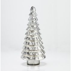 Hand-blown mercury glass tree holiday decoration, artisan crafted in elegant tiers with a lustrous antiqued silver finish.