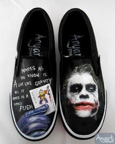 The Joker Custom Painted Slip-on Trainers - Christmas Birthday Gift Men Women Boys Girls Comic Anime Batman Brother Son Sister Daughter Dad