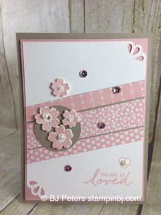handmade Valentine card by BJ Peter . pink and white with gray mats . luv the various small prints in the same colors . Stampin' Up! Love Valentines, Valentine Day Cards, Holiday Cards, Christmas Cards, Pretty Cards, Love Cards, Bloomin Love Stampin Up, Washi Tape Cards, Hand Made Greeting Cards