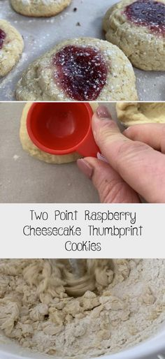 Two Point Raspberry Cheesecake Thumbprint Cookies - Pound Dropper Soft Ginger Cookies, Lemon Drop Cookies, Chocolate Crinkle Cookies, Chocolate Crinkles, Raspberry Desserts, Raspberry Cheesecake, Gluten Free Cookies, Fun Cookies, Raspberry Thumbprint Cookies