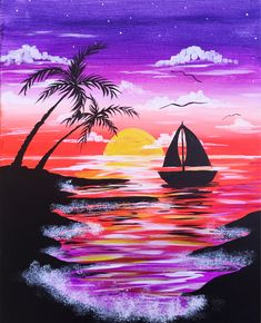 Summer can't come fast enough! You can enjoy summer now by painting Tropical Sail at Pinot's Palette! #sailboatpainting #beachhouse #tropicalpainting