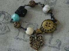 Boho Rustic Bracelet Stone Brass French Charm by 58Diamond on Etsy