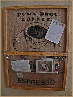 Coffee bag cork board background