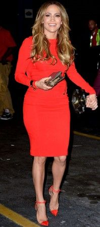 Jennifer Lopez in red Tom Ford and Christian Louboutin