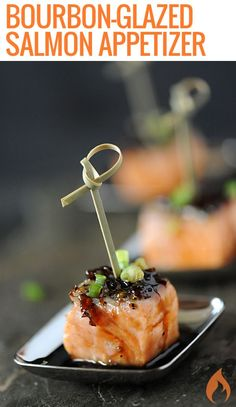 Bourbon-Glazed Salmon Appetizer Add elegance to your party table with this bourbon-glazed salmon appetizer. Each serving is drizzled with an addictive glaze that is slightly sweet with a touch of heat. Salmon Recipes, Fish Recipes, Seafood Recipes, Appetizer Recipes, Cooking Recipes, Appetizer Ideas, Seafood Appetizers, Tailgate Appetizers, Mini Appetizers