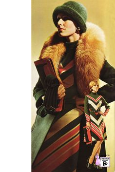 Fur was worn as an accessory in the 1970s.... AVeryGoodLife.com ~ New York Story vintage fashion color photo print ad models magazine designer green chevron knit dress 70s does 30s style retro repro outfit yellow red orange fur cloche hat