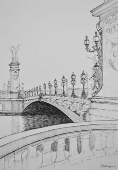 Freehand pen and ink sketch by Dai Wynn of the Pont Alexandre 3 over the Seine in Paris. In the background is Invalides containing Napoleon's tomb. Drawn on smooth Arches paper. 42 cm high by cm wide by cm deep approximately. Landscape Pencil Drawings, Landscape Sketch, Pencil Art Drawings, Cool Art Drawings, Art Drawings Sketches, Architecture Drawing Sketchbooks, Architecture Art, Pencil Sketches Architecture, Architectural Sketches