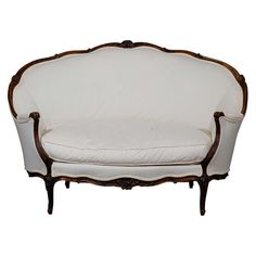 For Sale on - A French Louis XV style walnut settee from the century with wraparound back, scalloped skirt, cabriole legs and new double welt upholstery. This French Unique Furniture, Furniture Design, Gold Furniture, Furniture Stores, Rococo, Vintage Settee, Settee Sofa, Upholstered Chairs, Sofa Set