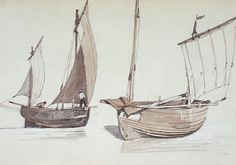 """""""Two two-masted luggers"""",  Prout, Samuel. National Maritime Museum"""