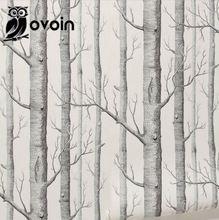 Foresta murale betulla albero modello boschi carta da parati rotolo moderna semplice wallpaper design nero bianco wall paper per soggiorno camera(China (Mainland))