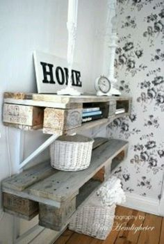 Pallet Shelves Projects Definitely want to do this. Paint it, antique it. Would make a nice shrine, or shelves for the kids too :D Recycled Pallets, Wooden Pallets, Pallet Benches, Pallet Couch, Pallet Tables, Pallet Bar, Outdoor Pallet, 1001 Pallets, Palette Deco