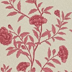 Chinese Peony Wallpaper - Red Orchid (212137) - Sanderson Richmond Hill Wallpapers Collection