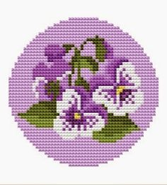 Free Cross Stitch Patterns: Viola Flower Cross Stitch Pattern - This could be used for tunisian crochet Cross Stitching, Cross Stitch Embroidery, Embroidery Patterns, Cross Stitch Designs, Cross Stitch Patterns, Free Cross Stitch Charts, Cross Stitch Needles, Cross Stitch Flowers, Loom Beading