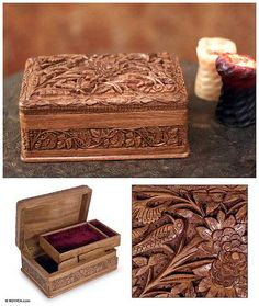 Carved Wood Tiered Jewelry Box Carved wood Box and Wooden jewelry