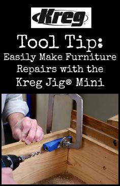 Tool Tip: How to Easily Make Furniture Repairs with the Kreg Jig® Mini   You can use the Kreg Jig® Mini to complete a variety of furniture repairs around your home. Today we'll show you how to repair a drawer that has pulled apart using just the Mini and an ordinary drill—and show you that you can do it in only a couple of minutes. Click the pin to view the tool tip video.