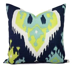 Two Decorative PIllow Covers Navy Ikat by CastawayCoveDecor