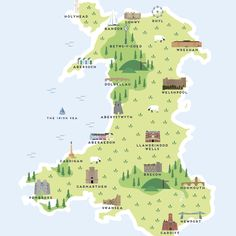 Map Of Wales Print by Pepper Pot Studios, the perfect gift for Explore more unique gifts in our curated marketplace. Map Of Wales Uk, Celtic Nations, Places In England, Aberystwyth, Adventure Map, Travel Drawing, Historical Landmarks, France Map, Swansea