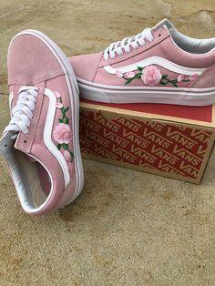 6528b5c718 Check My Shop Pink Vans old skool custom vans shoes Vans old skool rose Vans  sneakers Vans shoes for women rose sneakers floral vans vans shoes
