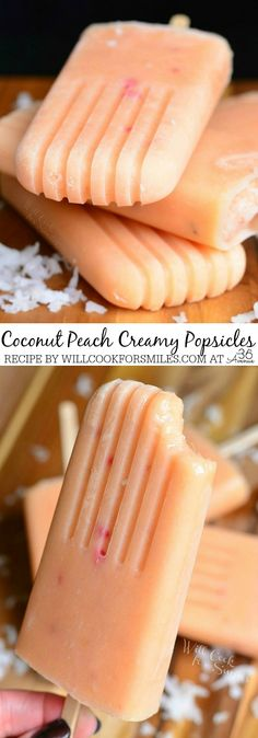 Coconut and Peach Creamy Popsicles - only 3 ingredients in these popsicles, they are very simple to make too!