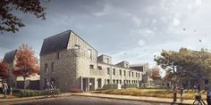 High density, urban social housing in Norwich - set to be the largest Passivhaus scheme in the UK. Public Architecture, Residential Architecture, Urban Village, Architecture Visualization, Rendering Architecture, Social Housing, Private Garden, Urban Planning, Exterior Design