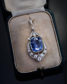 Rare Ct Ceylon Sapphire Diamond Vintage Art Deco Pendant - May 11 2019 at Sapphire Jewelry, Sapphire Diamond, Diamond Jewelry, Gold Jewelry, Jewelry Accessories, Fine Jewelry, Ceylon Sapphire, Sapphire Pendant, Diamond Necklaces