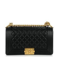 This is an authentic CHANEL Calfskin Quilted Medium Boy Flap in Black. This chic shoulder bag is crafted of diamond quilted luxurious calfskin leather in black with a linear quilted border. The bag features a light gold chain link shoulder strap with a leather shoulder pad and a light gold Boy Chanel CC press lock. This opens the front flap to a fabric interior with a pocket. This is an excellent shoulder bag, ideal for day and evening use, from Chanel!