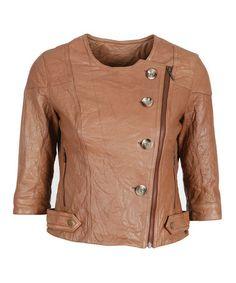 Look what I found on #zulily! Oak Isla Gorge Leather Jacket - Women #zulilyfinds